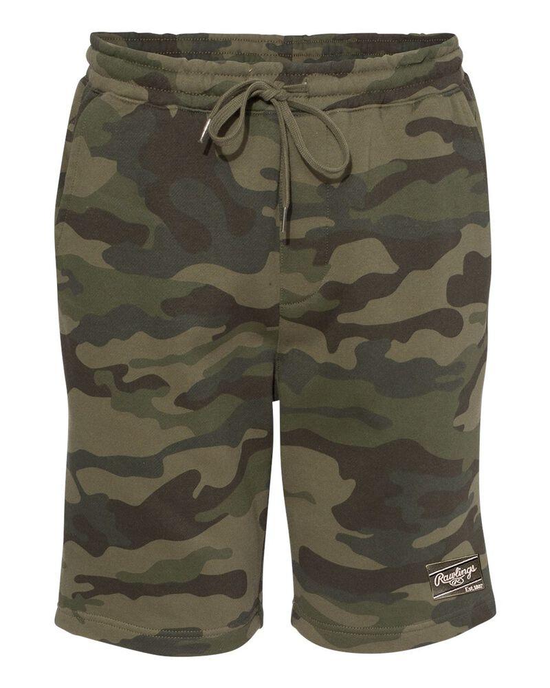 Green camo Rawlings men's fleece shorts - SKU: RSGFS-CAMO