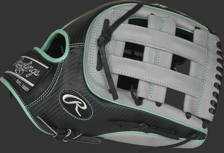 Thumb of a black/grey 2021 Heart of the Hide Hyper Shell 12.75-Inch outfield glove with a grey H-web - SKU: PRO3319-6BGCF