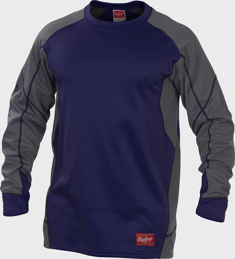 Purple UDFP4 Dugout fleece pullover with grey sleeves and purple stitching