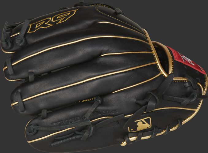 Black finger backs of a Rawlings R9 series infield/pitcher's glove with the MLB logo on the pinkie - SKU: R9206-9BG