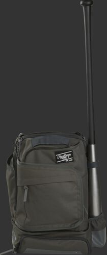 Front of a gray R701 Rawlings backpack with one bat in the bat sleeve