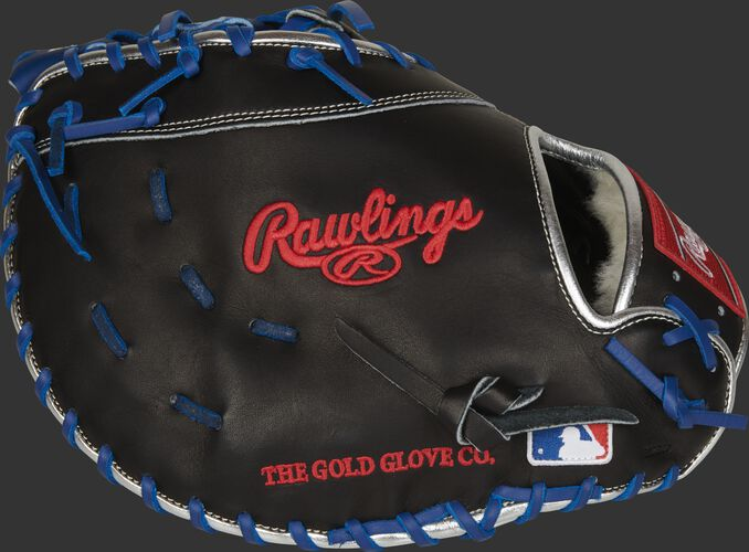 Side of a black Pro Preferred 1st base mitt with the MLB logo on the pinkie - SKU: PROSAR44B