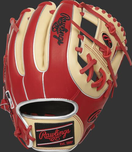 Scarlet back of a HOH R2G I-web glove with a black Rawlings patch - SKU: PROR314-2SC