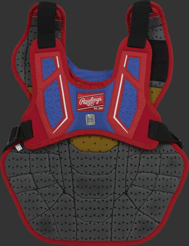 Back harness of a scarlet/royal CPV2N adult Velo 2.0 chest protector with Dynamic Fit System 2.0