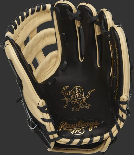 PRO205-6BCSS Rawlings 11.75-inch infield glove with a black palm and black laces