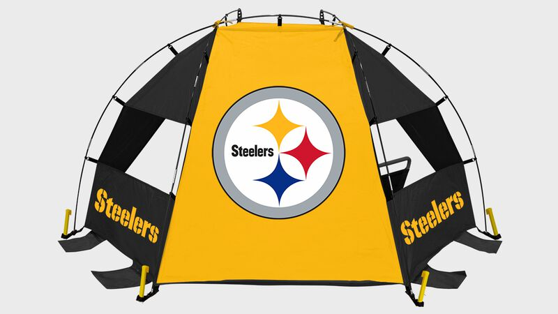 A Pittsburgh Steelers sideline sun shelter