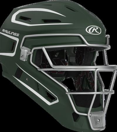 Front right of a dark green CHV27J Rawlings Velo 2.0 catcher's helmet