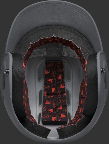 Inside padding of a graphite R16MS senior size Velo batting helmet