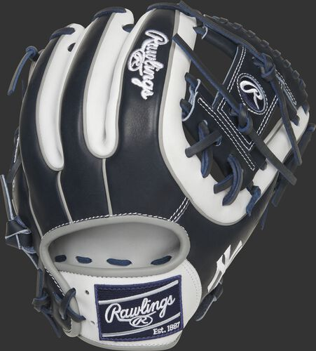 Navy back of a New York Yankees Heart of the Hide I-web glove with a navy Rawlings patch - SKU: RSGPRO314-2NYY
