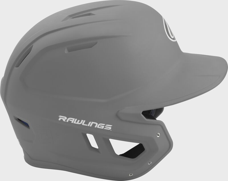 Right side of a matte silver MACH helmet