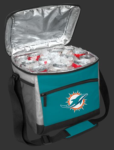 An open Miami Dolphins 24 can cooler filled with ice and drinks - SKU: 10211074111