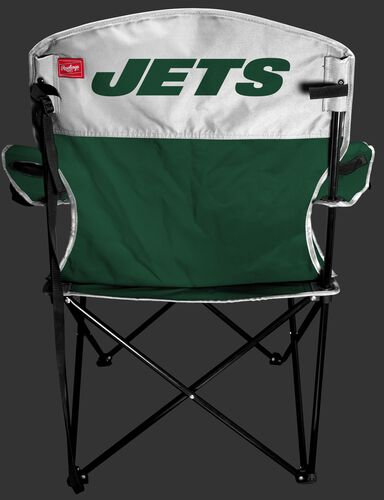 Back of Rawlings Green and White NFL New York Jets Lineman Chair With Team Name SKU #31021079111