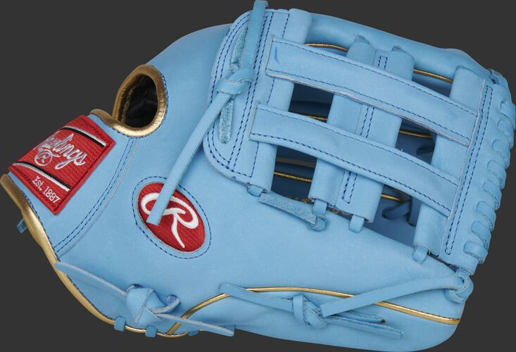 Thumb of a Columbia blue 2021 Kris Bryant 12.25-Inch Heart of the Hide glove with a Columbia blue H-web - SKU: RSGPROKB17-6CBG