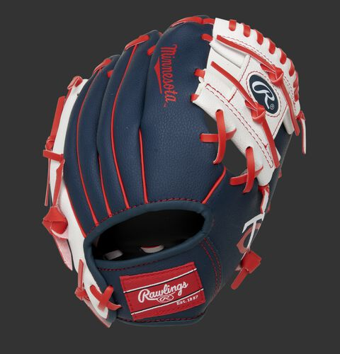 Back of a navy, white & red Minnesota Twins 10-Inch I-web glove with a red Rawlings patch - SKU: 22000028111
