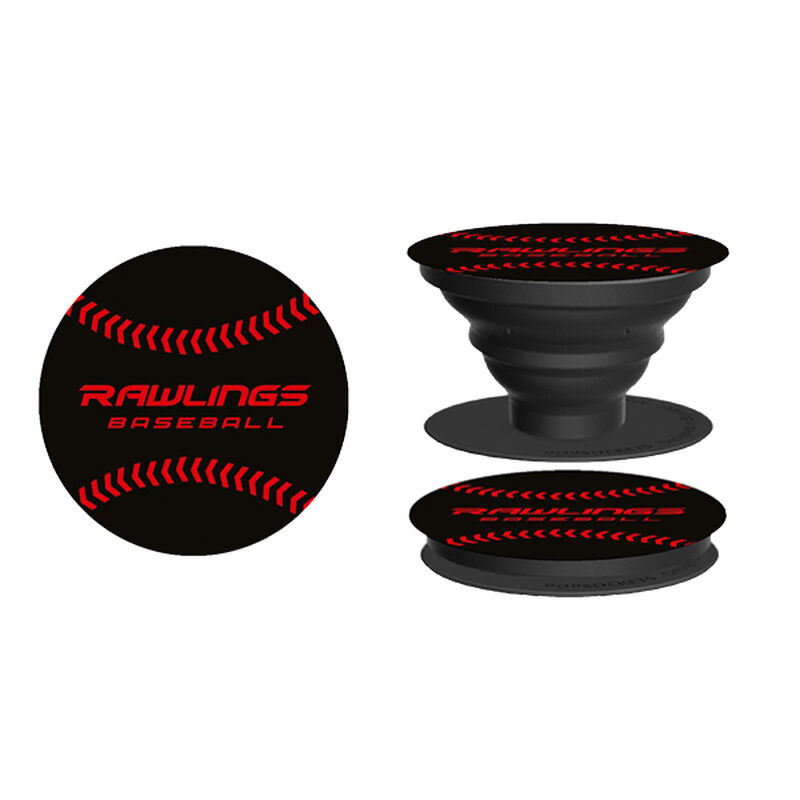 Rawlings Black and Red Pop Sockets With Rawlings Baseball In Red Writing and Red Baseball Stitches SKU #RAWLPOP