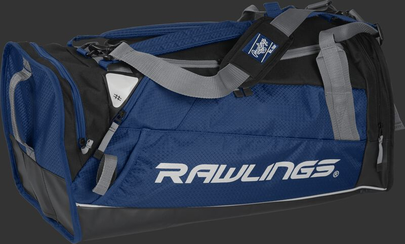 Side angle view of a navy R601 Hybrid players bag with a Rawlings logo on the side