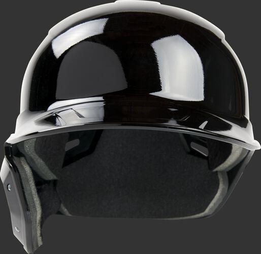 Front of a black, left handed Rawlings Mach single ear batting helmet - SKU: MSE01A-LHB