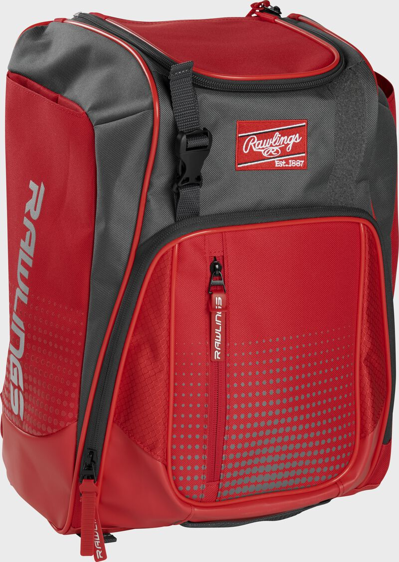 Front left angle of a scarlet Rawlings Franchise bag with gray accents - SKU: FRANBP-S