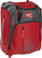Front left angle of a scarlet Rawlings Franchise bag with gray accents - SKU: FRANBP-S image number null