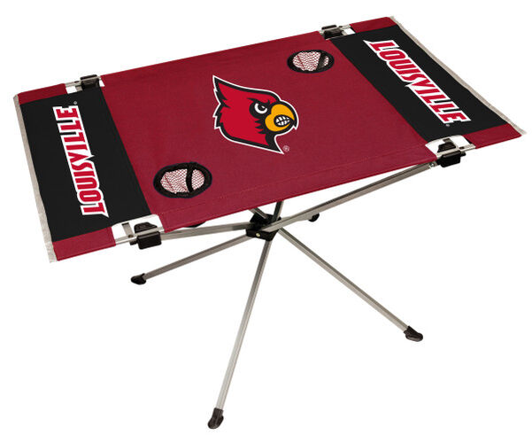 Rawlings Red and Black NCAA Louisville Cardinals Endzone Table With Two Cup Holders, Team Logo, and Team Name SKU #04053078111