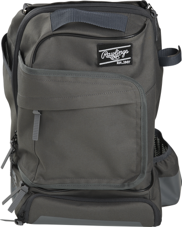 Front of a gray R701 Rawlings training backpack with a locker style front pocket