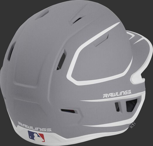 Back right of a two-tone matte silver/white MACH Rawlings senior size batting helmet