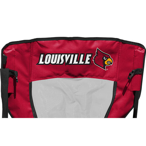 Back of Rawlings Black and Red NCAA Louisville Cardinals High Back Chair With Team Name SKU #09403078518