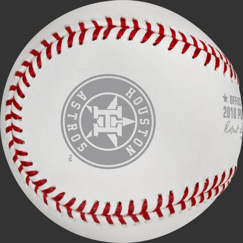 The Houston Astros logo stamped on the ALCS18DL American League Championship Series dueling teams ball