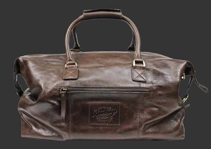 Back of a brown Rawlings rugged duffle bag with a side zip compartment - SKU: RS10023-200