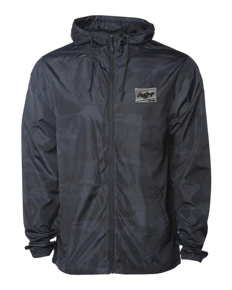 A black camo Rawlings lightweight windbreaker jacket - SKU: RSGCJ-G/HC