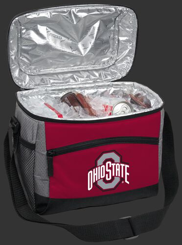 An open Ohio State Buckeyes 12 can cooler filled with ice and drinks - SKU: 10123042111