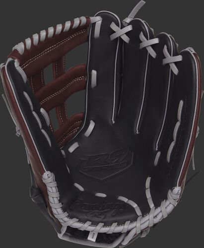 R93029-6BSG Rawlings R9 outfield glove with a black palm and grey laces