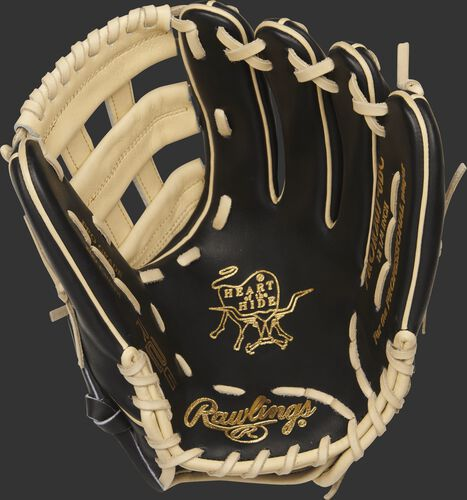 PROR207-6BC Heart of the Hide R2G 12.25-inch outfield glove with a black palm and camel laces