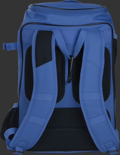 Back shoulder straps of a royal R701 baseball gear backpack with black back padding