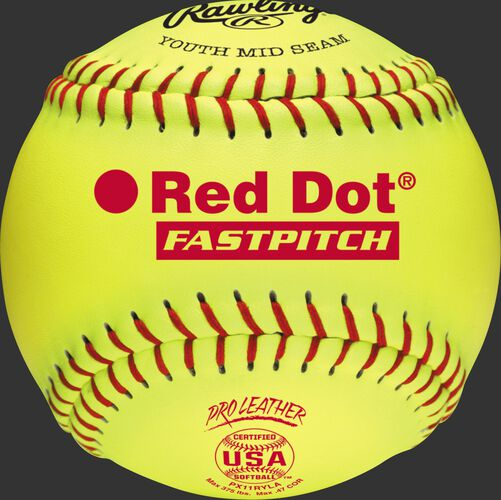 A yellow PX11RYLA USA NFHS 11-inch Red Dot softball with red stitching