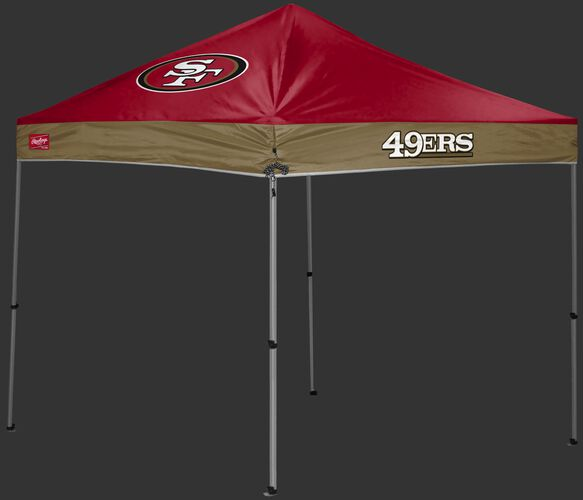 A red/gold San Francisco 49ers 9x9 shelter with a team logo on the left side - SKU: 03231084112