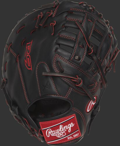 R9YPTFM16B 12-inch R9 Series youth first base mitt with a black back and designed with a youth pro taper fit