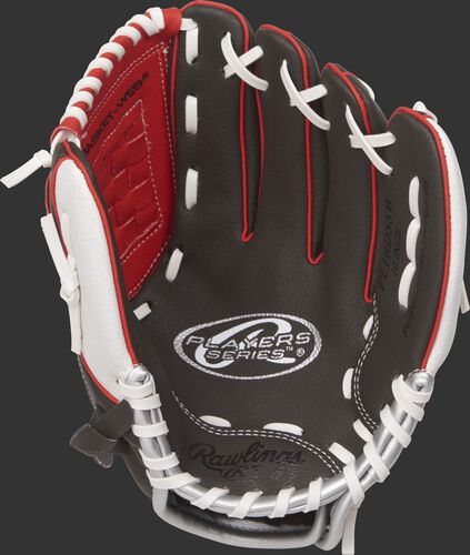 PL10DSSW Rawlings 10-inch tee ball glove with a dark shadow palm and white laces