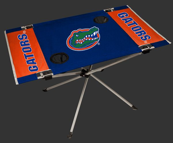 NCAA Florida Gators Endzone tailgate table in team colors with a team logo in the middle and two cup holders SKU #04053022111