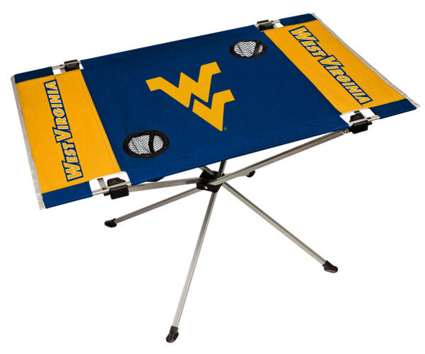 Rawlings Blue and Gold NCAA West Virginia Mountaineers Endzone Table With Two Cup Holders, Team Logo, and Team Name SKU #04053114111