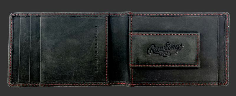 Inside of a black Rawlings high grade front pocket wallet with a magnetic money clip on the right side - SKU: RPW006-001