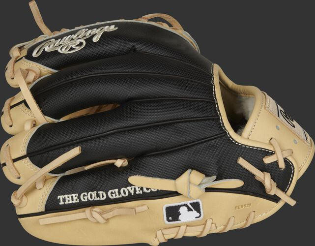 Black Speed Shell fingers of a Pro Preferred infield/pitcher's glove with the MLB logo on the pinkie - SKU: PROS205-4CSS