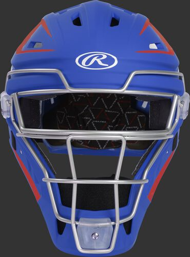 Front of a royal/scarlet CHV27J Velo 2.0 hockey-style catcher's helmet