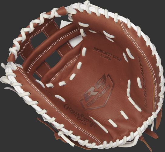 R9SBCM33-24DB Rawlings 33-inch fastpitch catcher's mitt with a brown palm and white laces