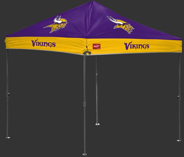 A purple/yellow NFL Minnesota Vikings 10x10 canopy with team logos on each side - SKU: 02231075111