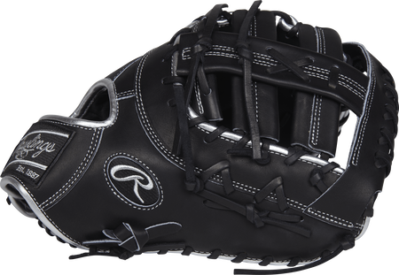 Thumb view of a PRODCTBP Heart of the Hide ColorSync 13-inch first base mitt with a black Single Post Double Bar web