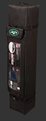 Black carry case of a 9x9 New York Jets canopy with a team logo on the side compartment - SKU: 03231079113