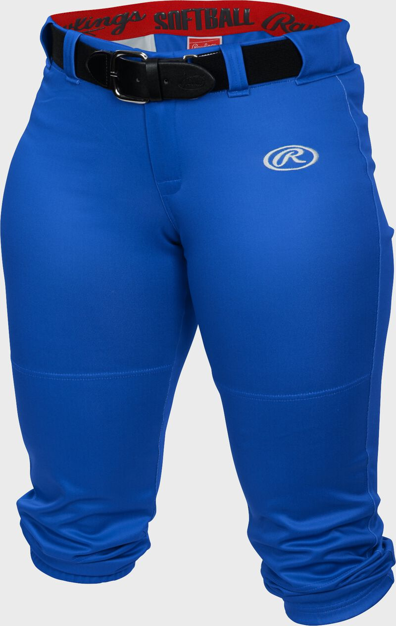 WLNCH royal Women's launch softball pants with a black belt