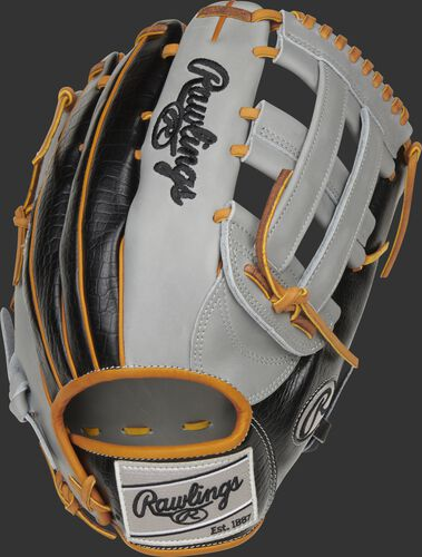 Black croc embossed back of a Heart of the Hide ColorSync 5.0 H-web outfield glove with a gray Rawlings patch - SKU: PRO3030-6GC