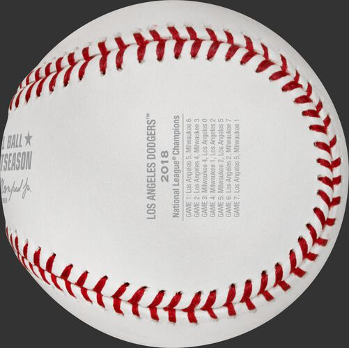 Game scores on the NLCS18CHMP baseball commemorating the Los Angeles Dodgers National League Championship